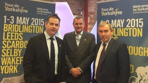 MP Nigel Adams and SDC's Mark Crane with Welcome to Yorkshire's Gary Verity